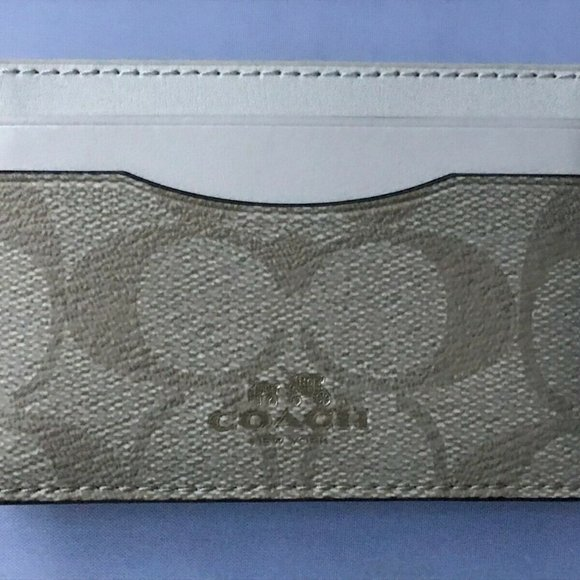 COACH Flat Card Case Card Holder In Signature Coat